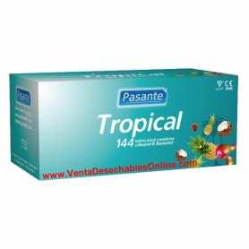 144 Preservativos Pasante 180x52 mm 4 Sabores Tropicales