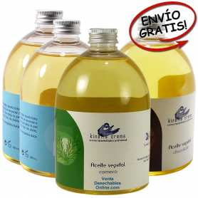 2 Aceites neutros, 1 romero y 1 chocolate 500ml - Kinefis