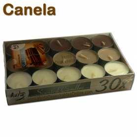 Pack 30 velas té Perfumadas Canela 4x1 11g