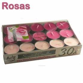 Pack 30 velas té Perfumadas Rosas 4x1 11g