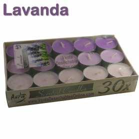 Pack 30 velas té Perfumadas Lavanda 4x1 11g