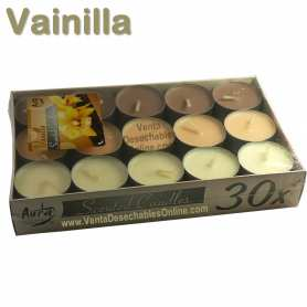 Pack 30 velas té Perfumadas Vainilla 4x1 11g