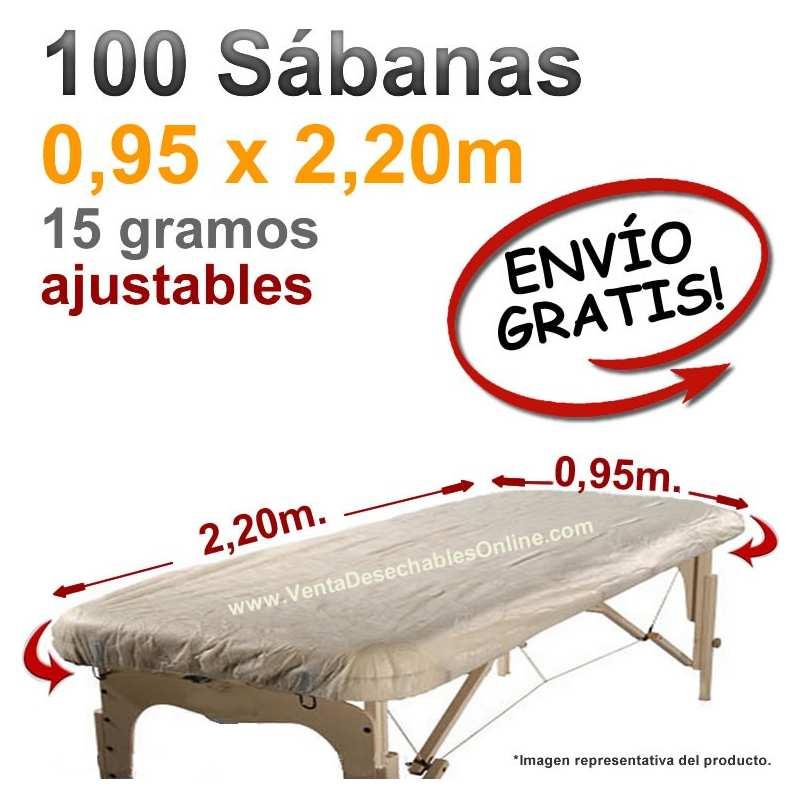100 Sábanas Camilla Ajustables SMS 0,95x2,20m