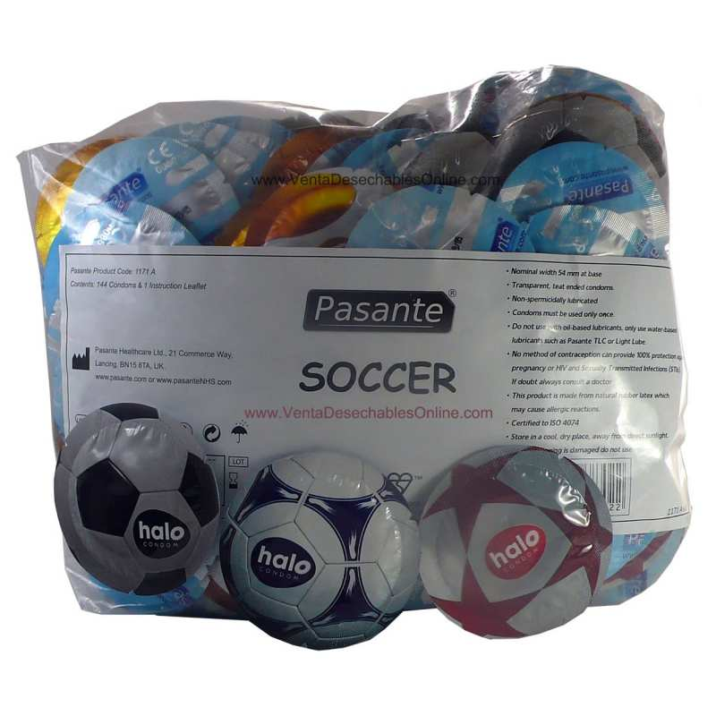 144 Preservativos Pasante 190x54 mm Halo Soccer