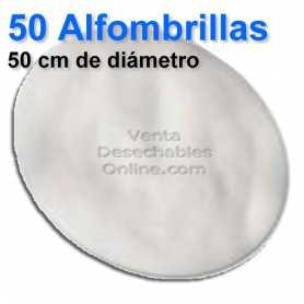 50 Alfombrillas Redondas Blancas 50cm