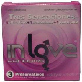 3 Condones Sueltos In love 190x54 Fino, Acanalado y Punteado