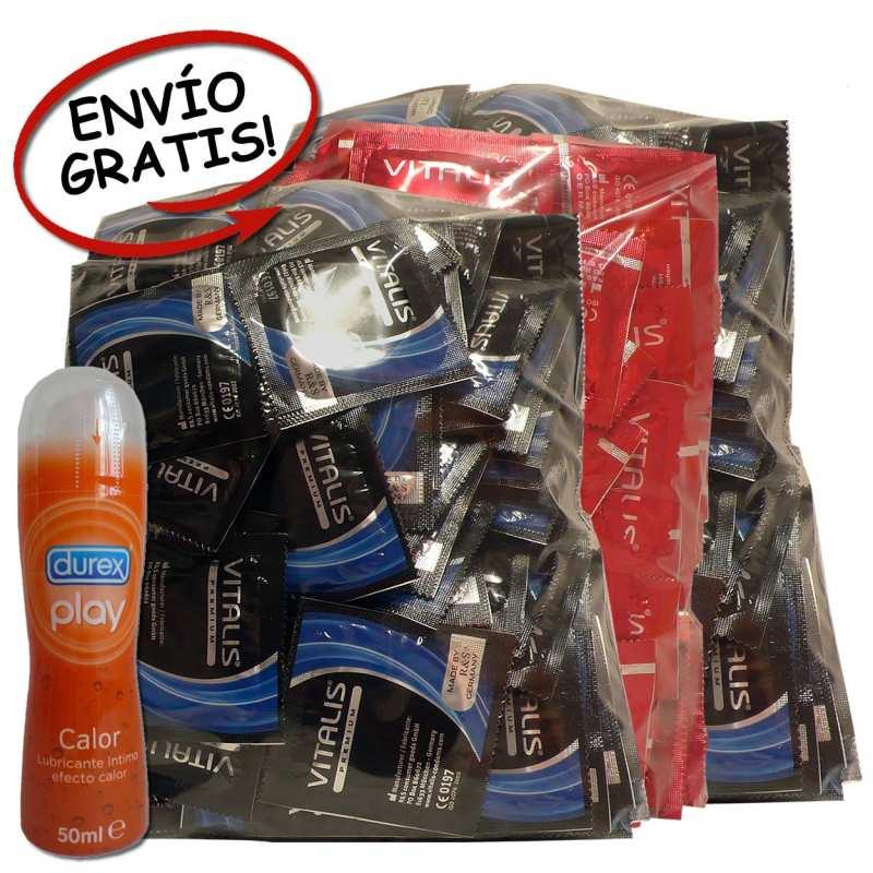 100 Condones Vitalis Natural, 100 Fresa, 100 XL y 1 Lubricante Durex