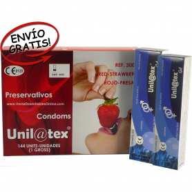 144 Preservativos Fresa y 2 Lubricantes Unilatex