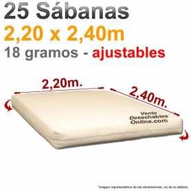 25 Sábanas bajeras Desechables Ajustables 2,20x2,40m