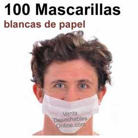100 Mascarilla Papel Blancas