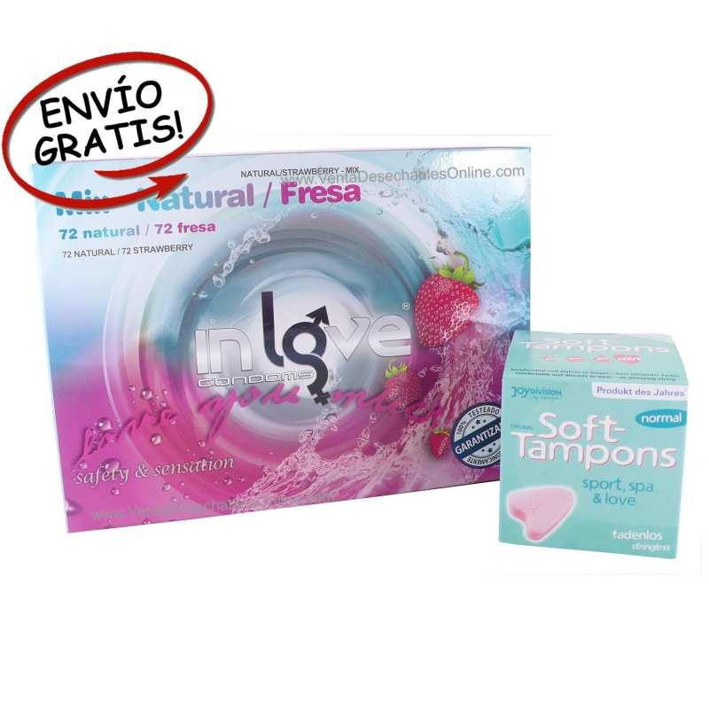 144 Preservativos In Love y 3 Esponjas Menstruación
