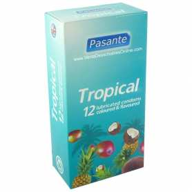 12 Condones Pasante Tropical 180x52 mm 3 Sabores Tropicales