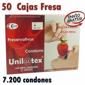 50 Cajas Condones Unilatex Fresa 185x54