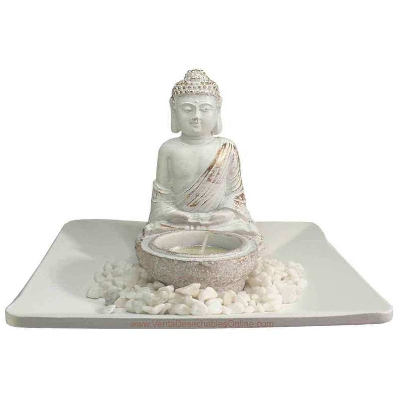 Portavela Buda Amitabha - Blanco
