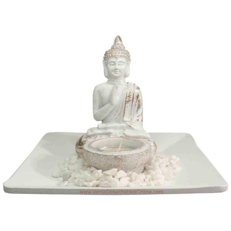 Portavela Buda Amoghsiddhi - Blanco
