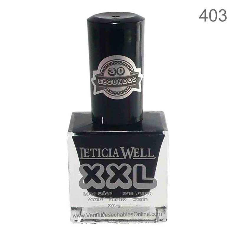 Laca De Uñas XXL 403 - Negro - Secado Rápido - Leticia Well
