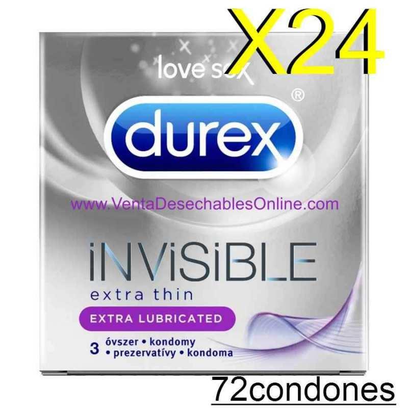 24 cajas de 3 Preservativos Durex Invisible Extra Fino Extra Lubricado Vending
