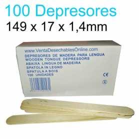 100 Depresores Linguales Madera No Esteriles