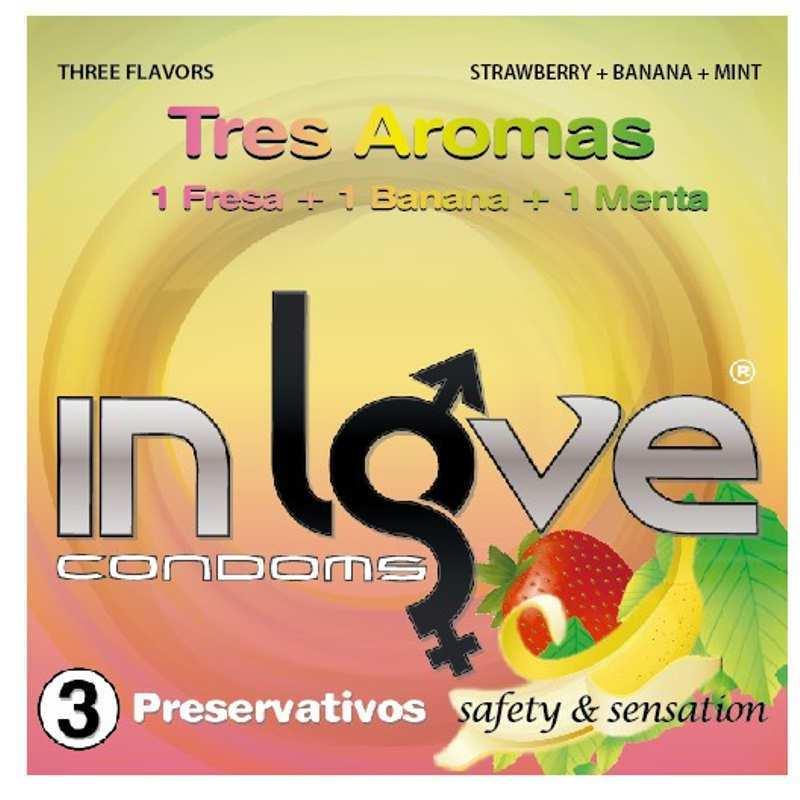 3 Condones Sueltos In love 190x54 Fresa, Plátano y Menta