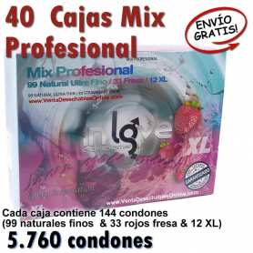 40 Cajas Condones Al Por Mayor Fino, Rojo Fresa y XL - In Love Mix Profesional