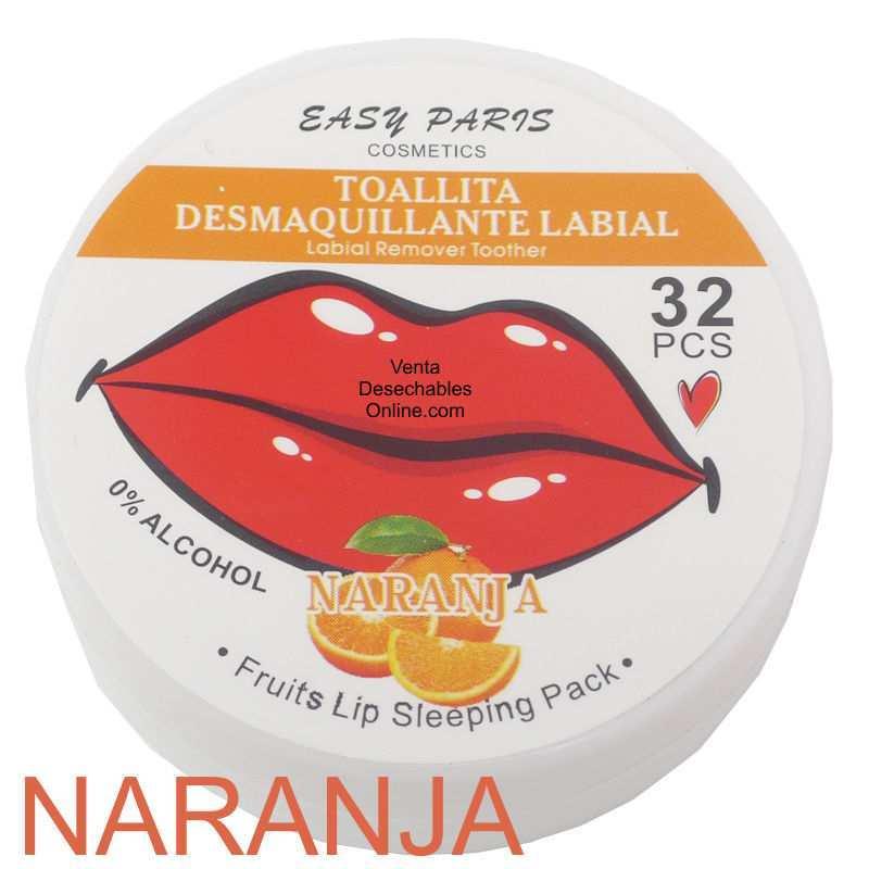 Toallitas Desmaquillantes Naranja Para Labios - Easy Paris