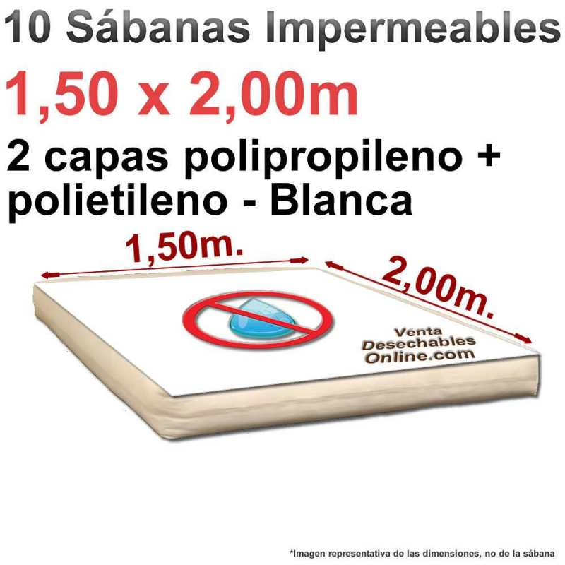 10 Sábanas Desechables Sudoración 1,50x2,00m.