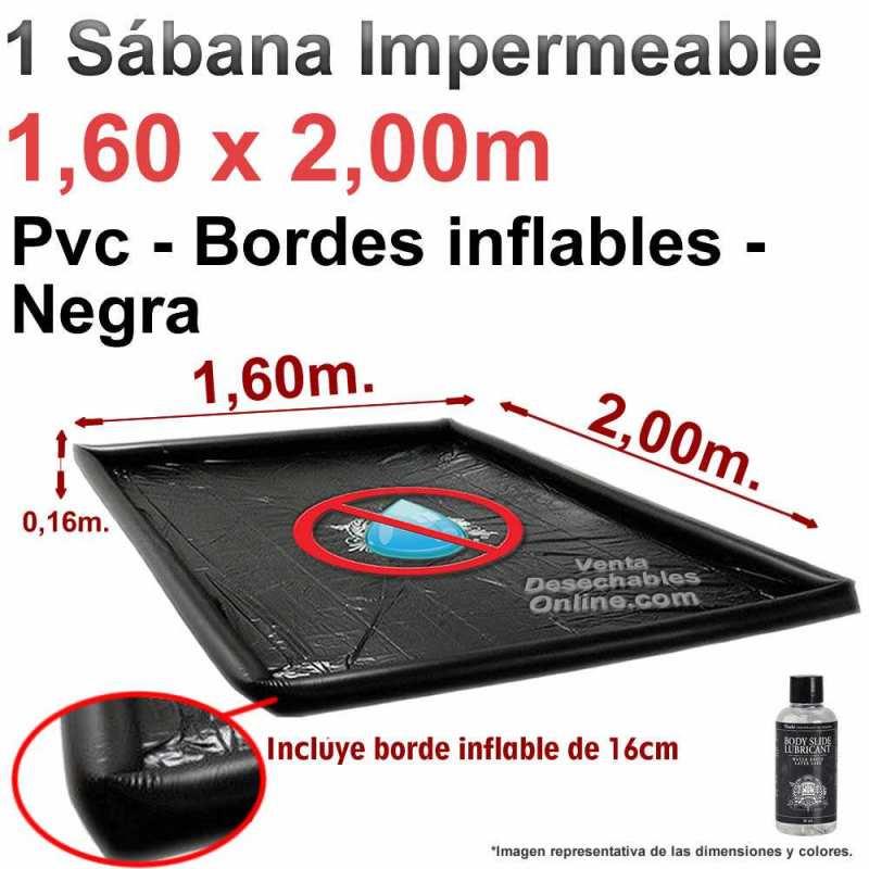 Sábana impermeable Con Bordes Pvc 1,60 x 2,00 x 0,16 m - Negra - Touché