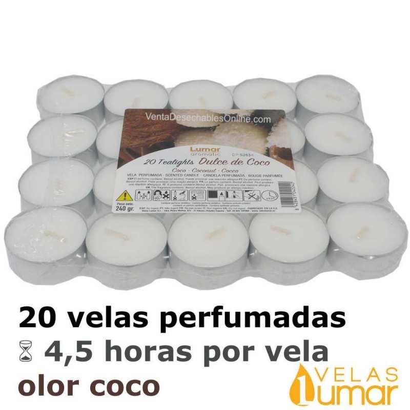 20 velas té Aromáticas Coco 11g