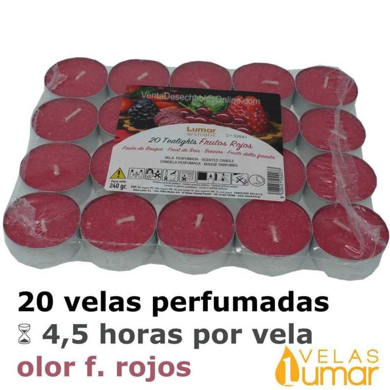 20 velas té Aromáticas Frutos Rojos 11g