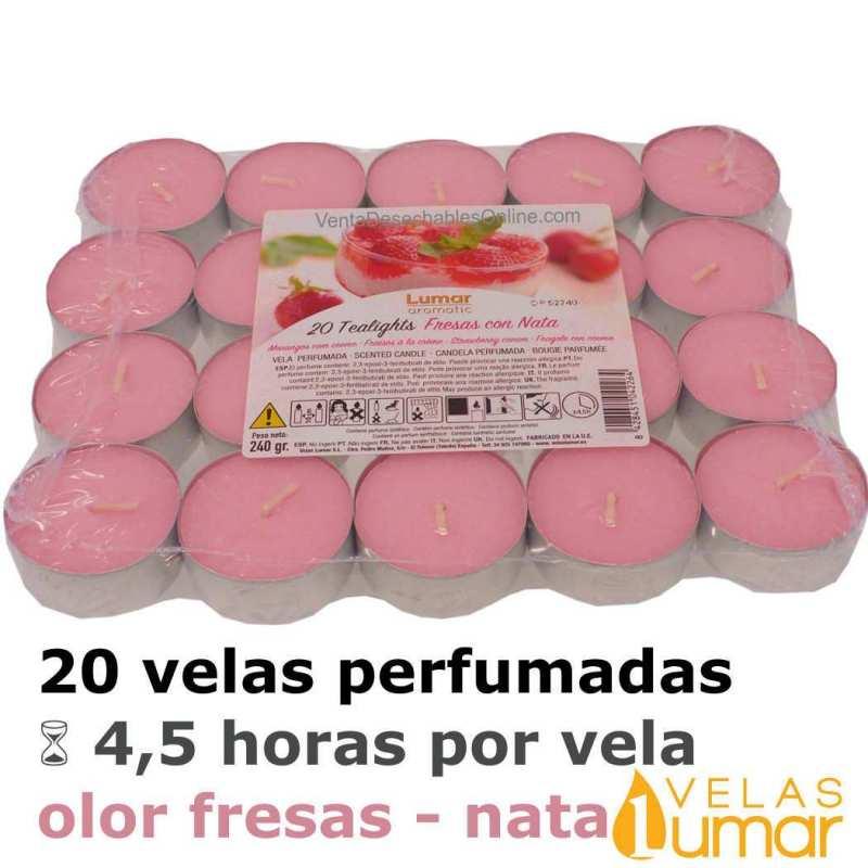 20 velas té Aromáticas Fresas Con Nata 11g