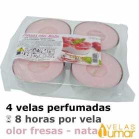 4 Velas Maxi Aromáticas Fresas Con Nata 40g - Lumar
