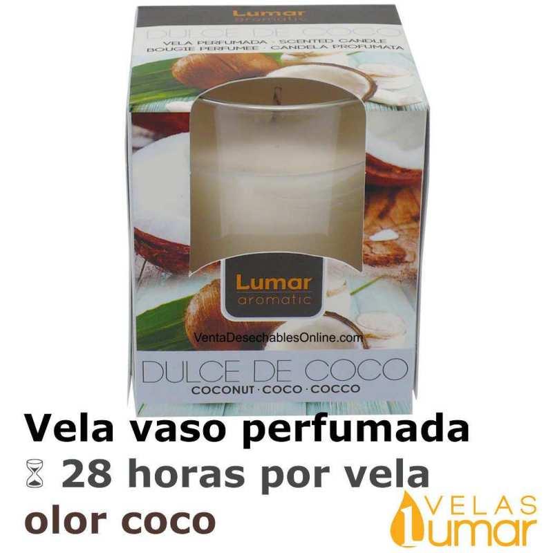 Vela Vaso Cristal Aromática Coco 125g - Lumar