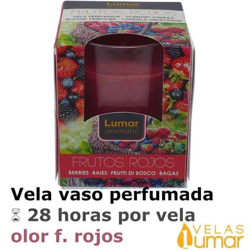 Vela Vaso Cristal Aromática Frutos Rojos 125g - Lumar
