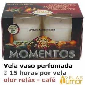 2 Velas Vaso Cristal Aromática Reláx Café Coffe 57g - Lumar