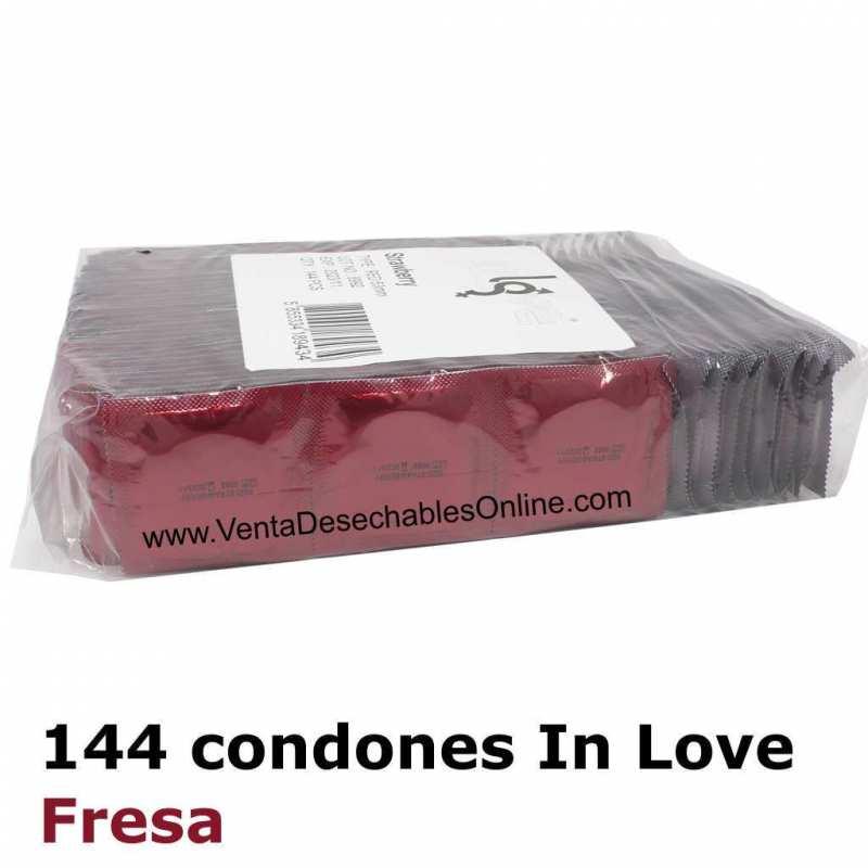 144 Condones In love 190x54 Fresa Rojos Bolsa