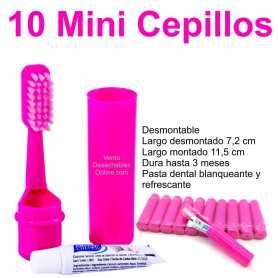 10 Mini Cepillos Dientes Fucsia 7,2-11,5 cm