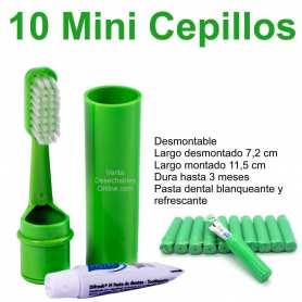 10 Mini Cepillos Dientes Verdes 7,2-11,5 cm