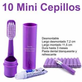 10 Mini Cepillos Dientes Morado 7,2-11,5 cm