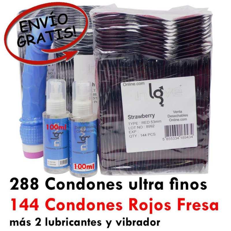 288 Preservativos Finos . 144 Fresa. 2 Lubricantes y 1 Vibrador