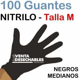 100 Guantes Nitrilo Talla M Negros