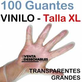 100 Guantes Vinilo Talla XL - Sin polvo