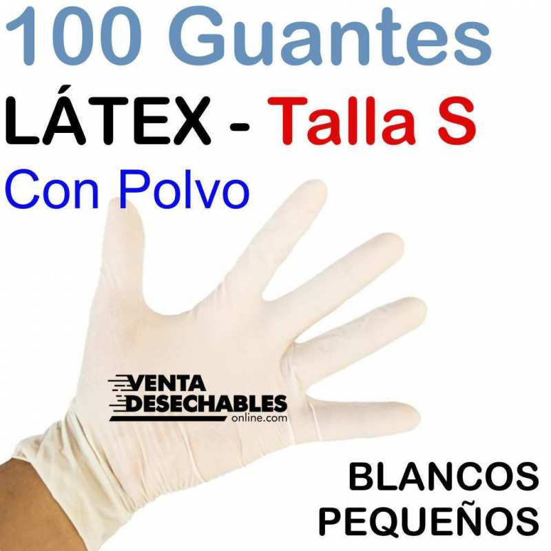 100 Guantes Látex Talla P con Polvo