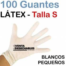 100 Guantes Látex Talla S - Sin Polvo