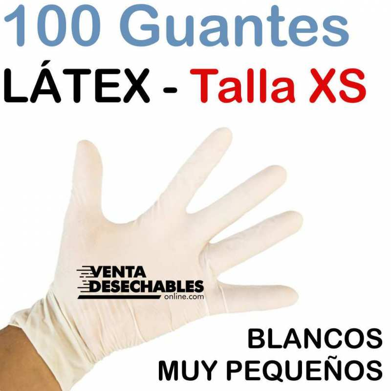 100 Guantes Látex Sin Polvo XS