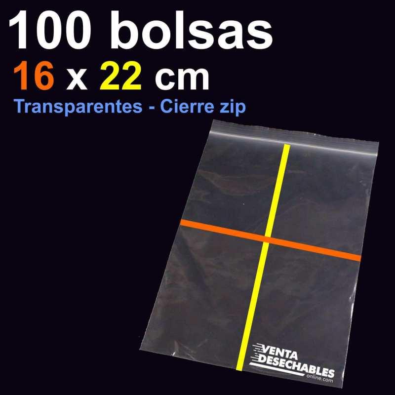 100 Bolsas PE 16x22 cm Cierre Zip