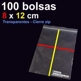 100 Bolsas PE 8x12 cm Cierre Zip
