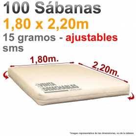 100 Sábanas Desechables Ajustables 1,80x2,20m SMS 15g