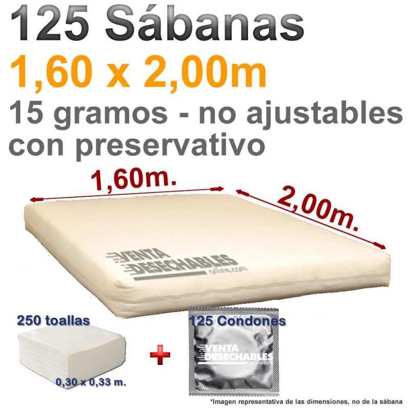 Sábanas desechables con Preservativo y Toallas.