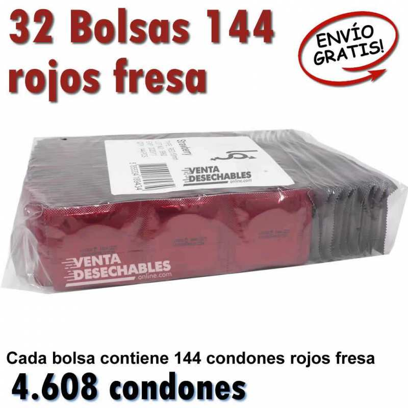 32 Bolsas Condones fresa Al Por Mayor In Love Fresa 185x54