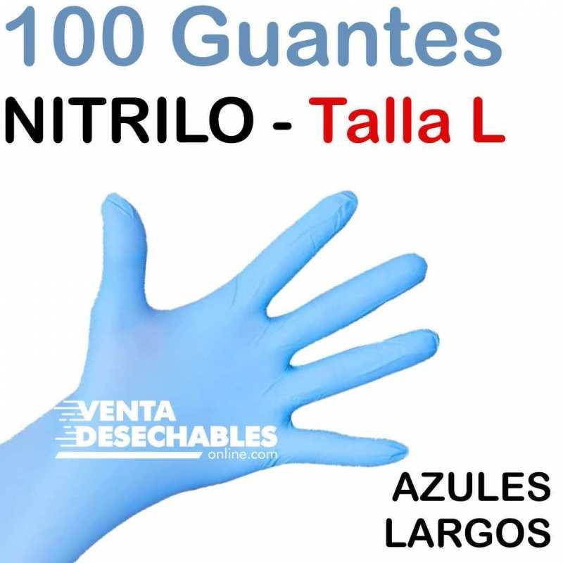 100 Guantes Nitrilo Talla L Azules